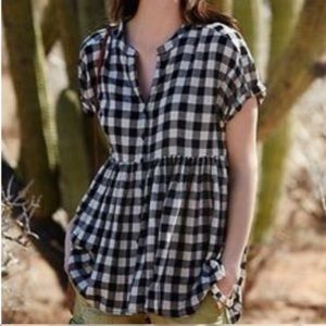 Anthropologie | Top Gingham Plaid Hi-Lo Peplum S